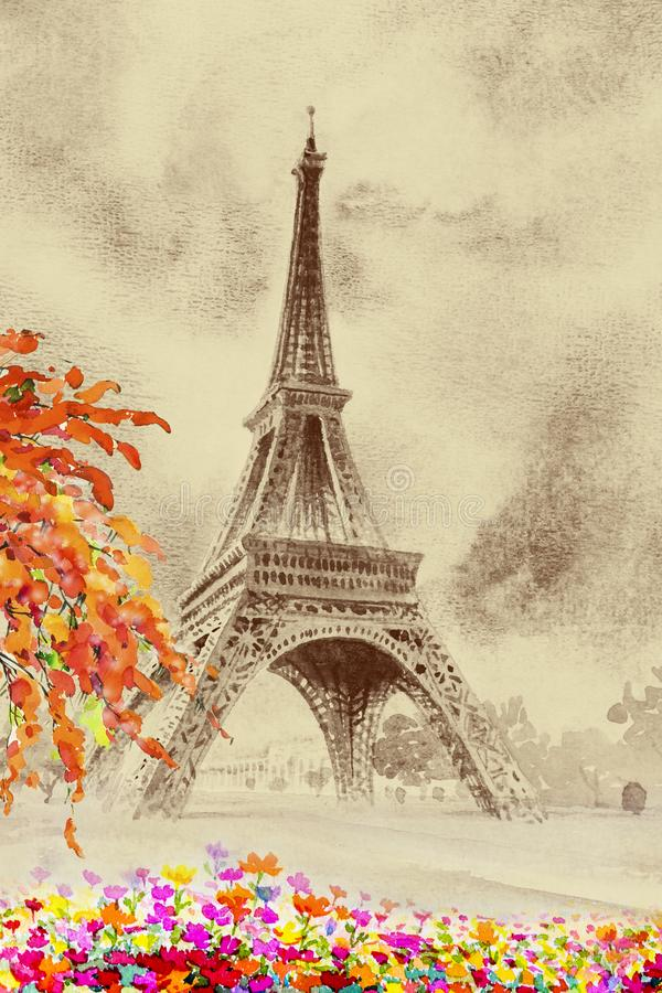 De toren en de bloemschoonheidsseizoen van Eiffel in tuin royalty-vrije illustratie
