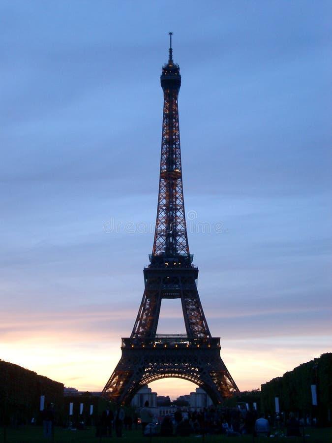 De Toren En De Schemer Van Eiffel Royalty-vrije Stock Afbeelding