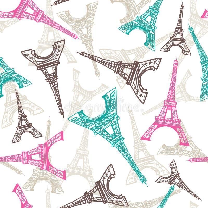 De Toren naadloos patroon van Eiffel Franse Vectorachtergrond Uitstekende stoffentextuur in pastelkleuren vector illustratie