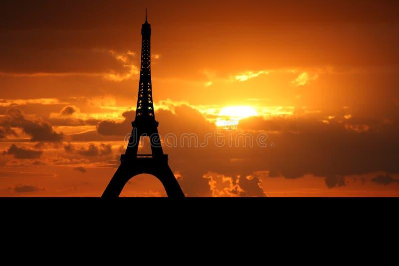 De toren Parijs van Eiffel bij zonsondergang