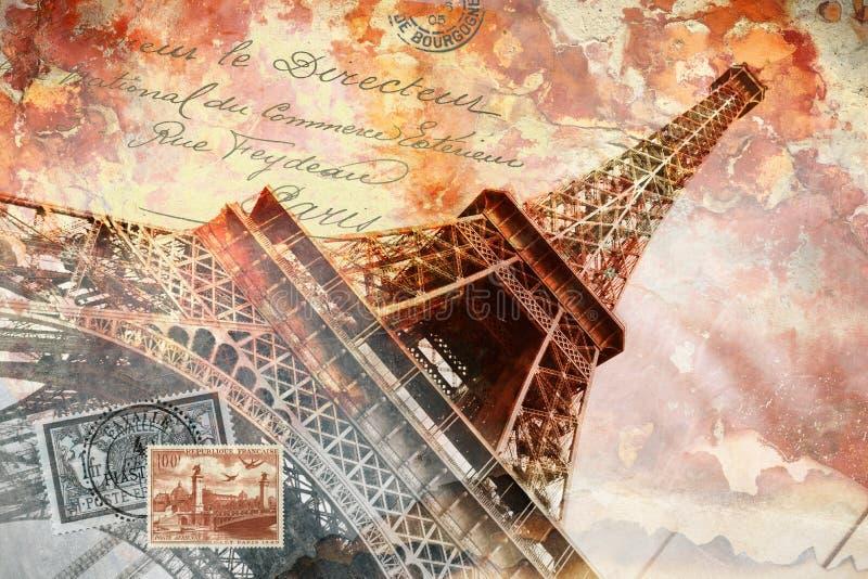 De toren Parijs van Eiffel, vat digitaal art. samen stock illustratie