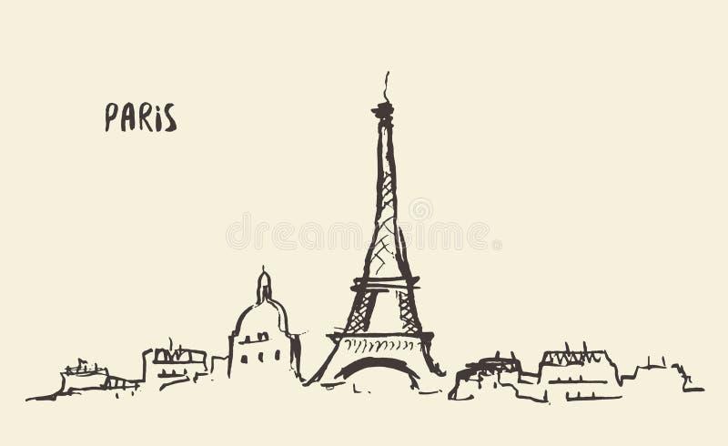 De Toren Parijs, vectorillustratie van schetseiffel royalty-vrije illustratie