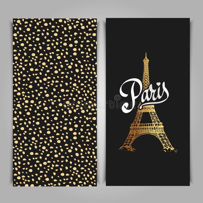 De toren Parijse symbool van Eiffel Getrokken hand vectordec van de groetkunst stock illustratie