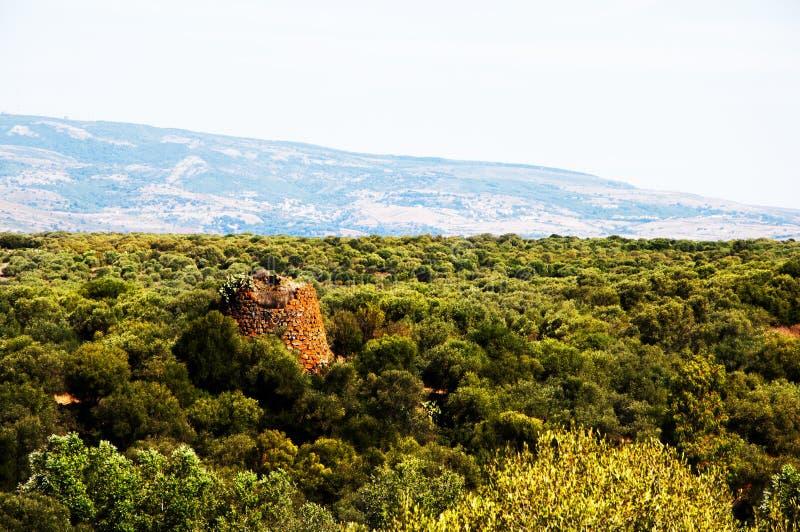 De toren Sardinige van landschapsnuraghe stock foto