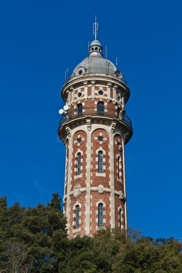 De toren Tibidabo Barcelona Spanje van het water stock afbeeldingen