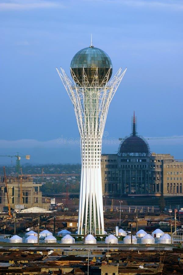 De toren van Baiterek in stad Astana stock fotografie