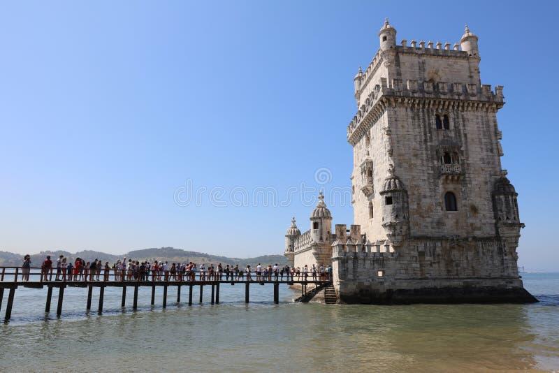 De Toren van Belem (Toren van Heilige Vincent) lissabon stock foto's
