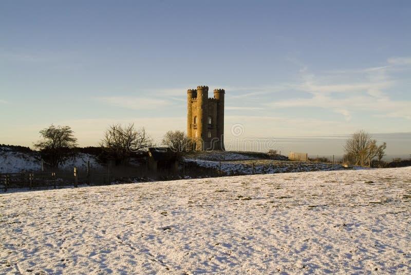 De toren van Broadway in de winter cotswolds Engeland het UK stock afbeelding