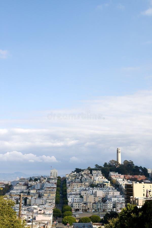 De Toren van Coit op de Heuvel van de Telegraaf stock foto