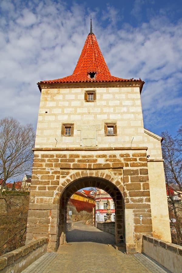 De toren van de brug in Stribro royalty-vrije stock fotografie