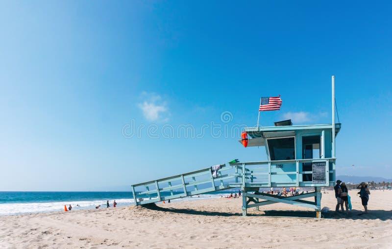 De toren van de het levenswacht op een strand van Venetië in Los Angeles Californië de V.S. royalty-vrije stock foto's