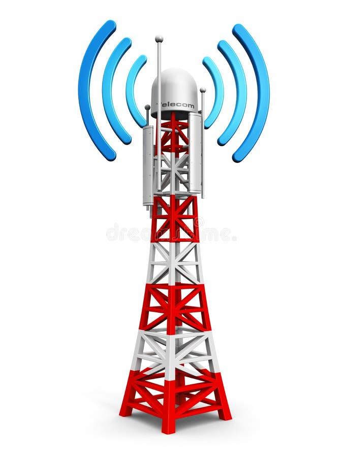 De toren van de telecommunicatieantenne vector illustratie
