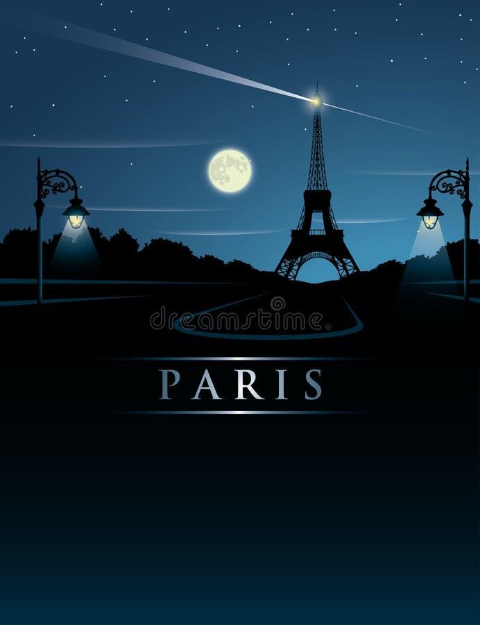 De toren van Eiffel bij nacht royalty-vrije illustratie