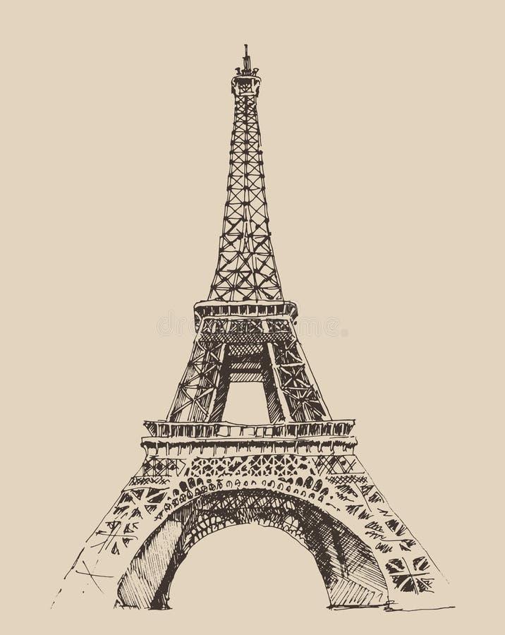 De Toren van Eiffel, de architectuur van Parijs Frankrijk, wijnoogst gegraveerde illustratie vector illustratie
