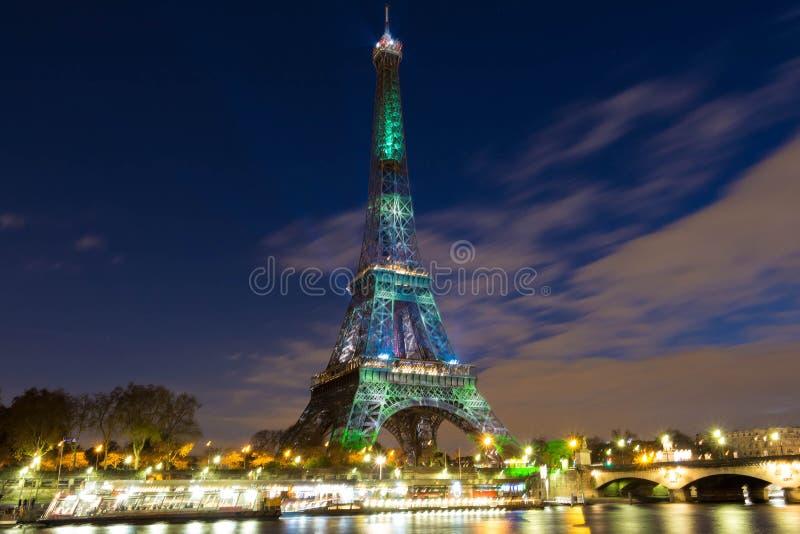 De toren van Eiffel door een groen visueel bos, Parijs, Frankrijk wordt behandeld dat stock fotografie
