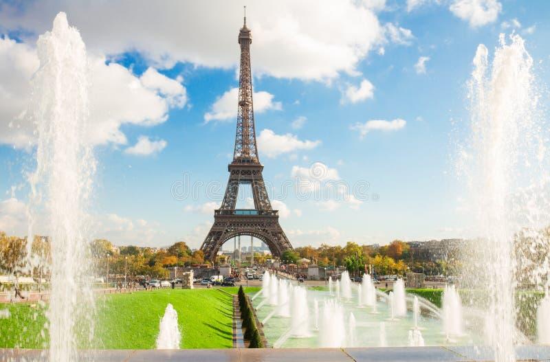 De Toren van Eiffel en fonteinen van Trocadero royalty-vrije stock fotografie