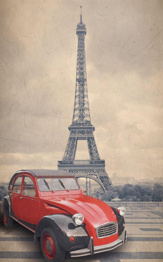 De Toren van Eiffel en rode auto met retro uitstekende effect van de stijlfilter vector illustratie
