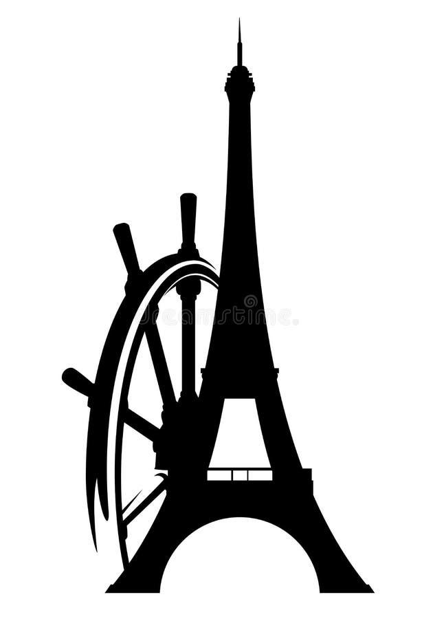 De toren van Eiffel en stuurwiel zwart silhouet royalty-vrije illustratie