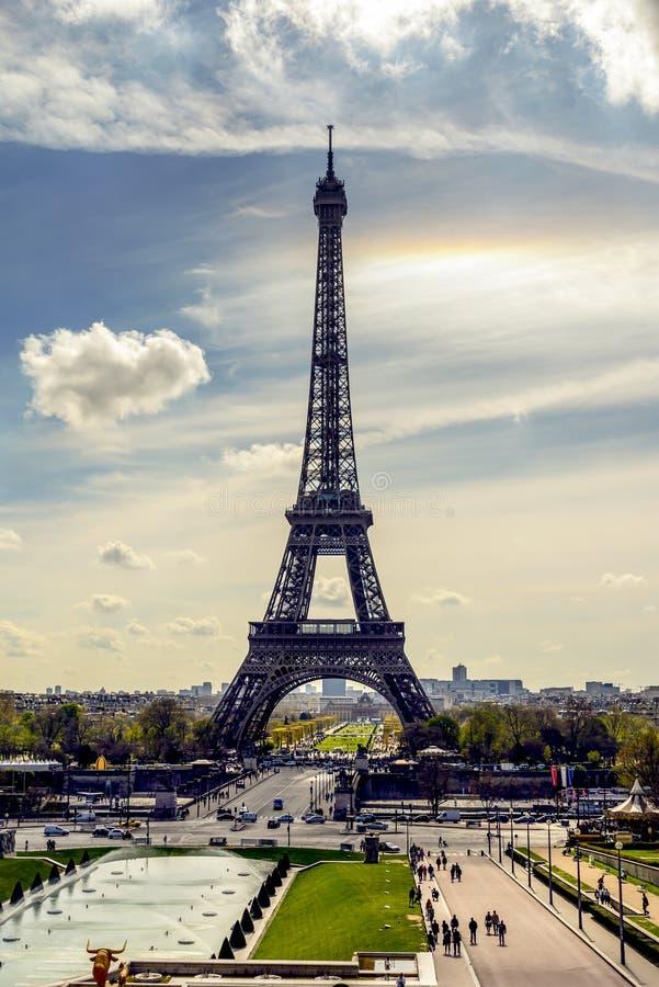 De Toren van Eiffel, het oriëntatiepunt van Parijs, Frankrijk stock afbeelding