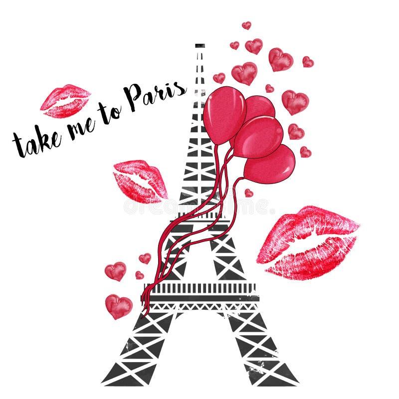 De toren van Eiffel met impulsen en harten vector illustratie