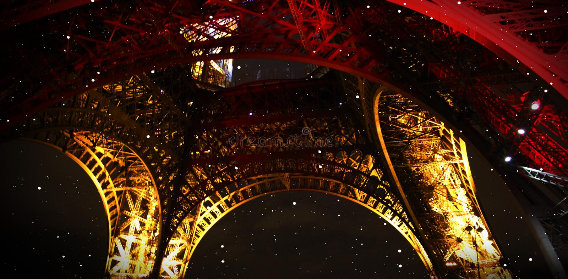 De toren van Eiffel Neonlichten van de nachtstad parijs royalty-vrije stock afbeeldingen