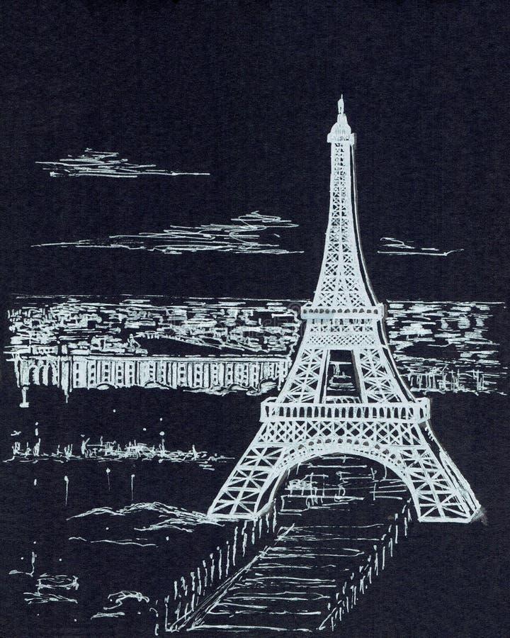 De toren van Eiffel op een grijze achtergrond stock foto's