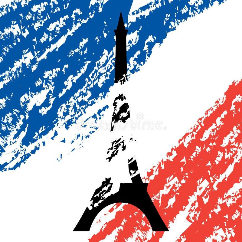 De toren van Eiffel op de kleuren van de Franse vlag stock illustratie