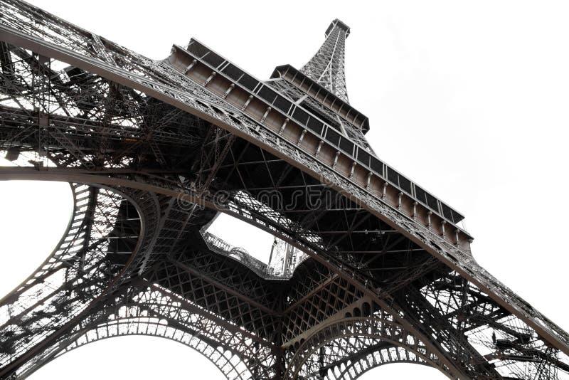 De toren van Eiffel in Parijs geïsoleerdea bodemmening royalty-vrije stock afbeelding