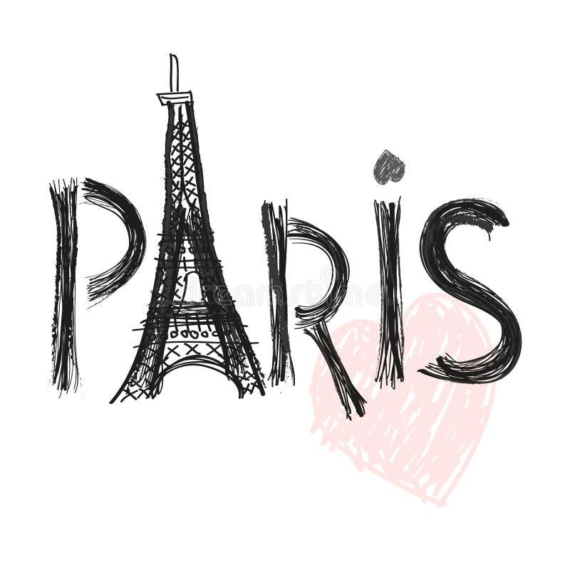 De Toren van Eiffel Van de de brieven vectorillustratie van Parijs hand getrokken de afficheontwerp royalty-vrije illustratie