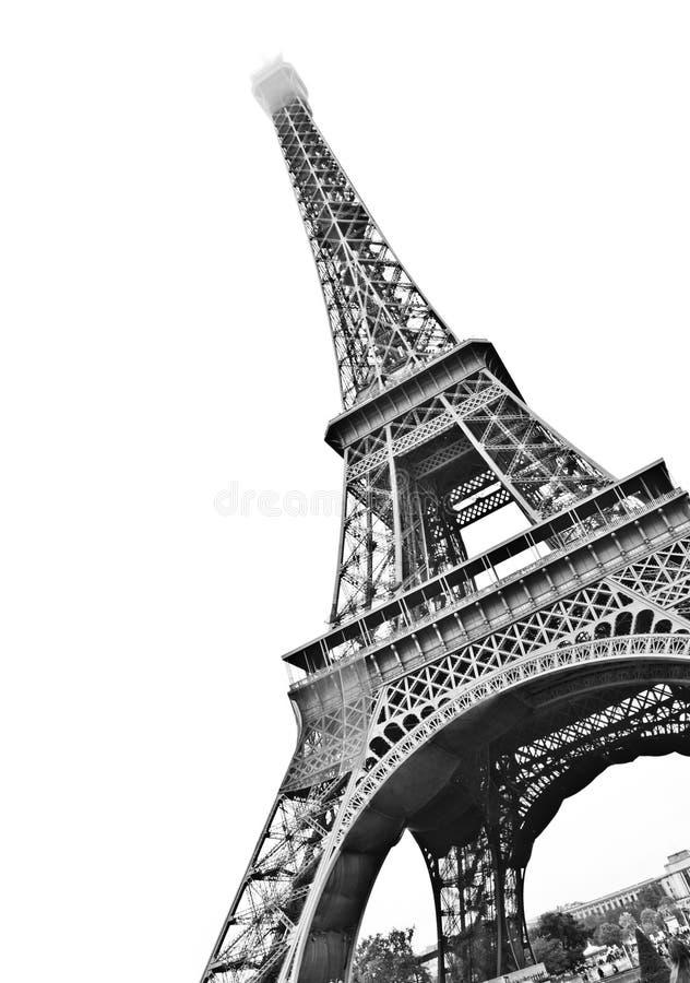 De Toren van Eiffel van Parijs dat op wit wordt geïsoleerd stock fotografie