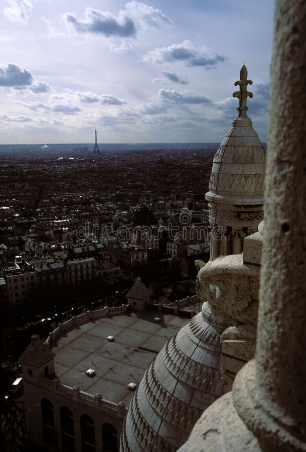 De toren van Eiffel van Sacre Coeur stock fotografie