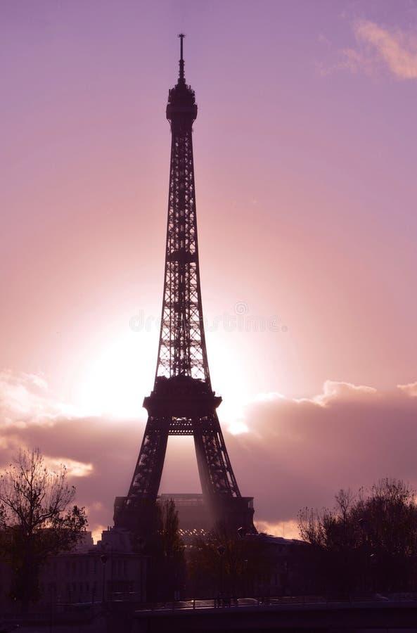De toren van Eiffel, zonsondergang, Parijs stock foto