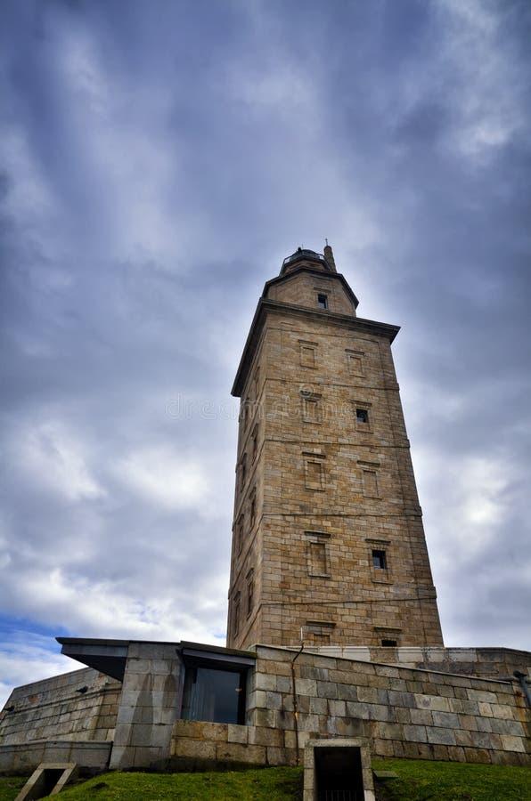De Toren van Hercules, is een oude Roman vuurtoren dichtbij de stad van een Coruï ¿ ½ a, in het Noorden van Spanje royalty-vrije stock afbeelding