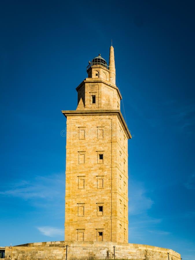 De toren van Hercules is de oude Roman vuurtoren in de wereld - een Coruna royalty-vrije stock afbeelding