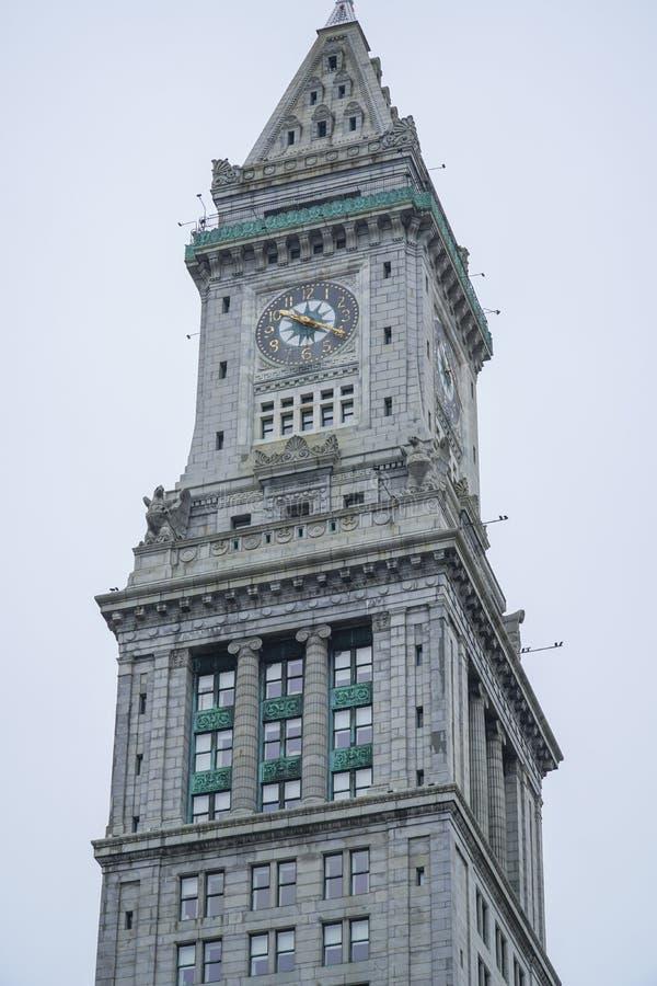 De Toren van het douanehuis in Boston de stad in - BOSTON, MASSACHUSETTS - APRIL 3, 2017 stock fotografie