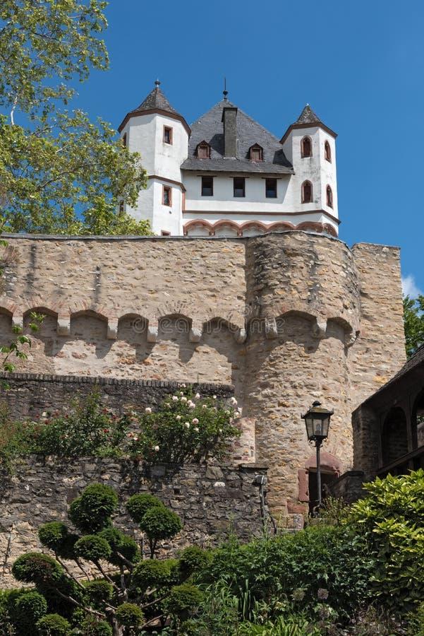 De toren van het kieskasteel in eltville op de Rijn Duitsland stock fotografie