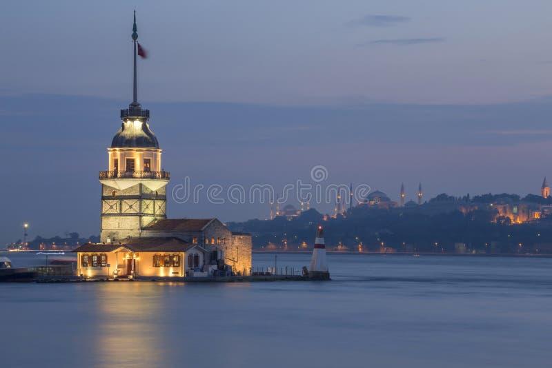 De Toren van het meisje in Istanboel, Turkije royalty-vrije stock fotografie