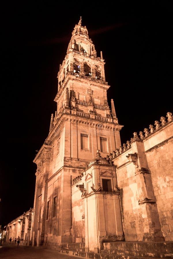 De toren van Moskee/Kathedraal van CÃ ³ rdoba, nachtmening royalty-vrije stock fotografie