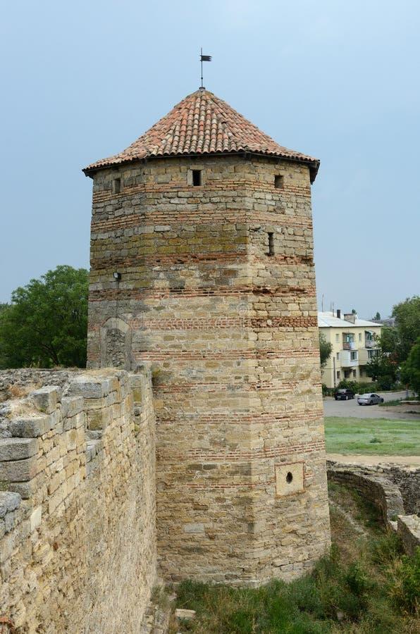 De toren van Publiusovidius naso in oude vesting Akkerman, de Oekraïne stock afbeeldingen