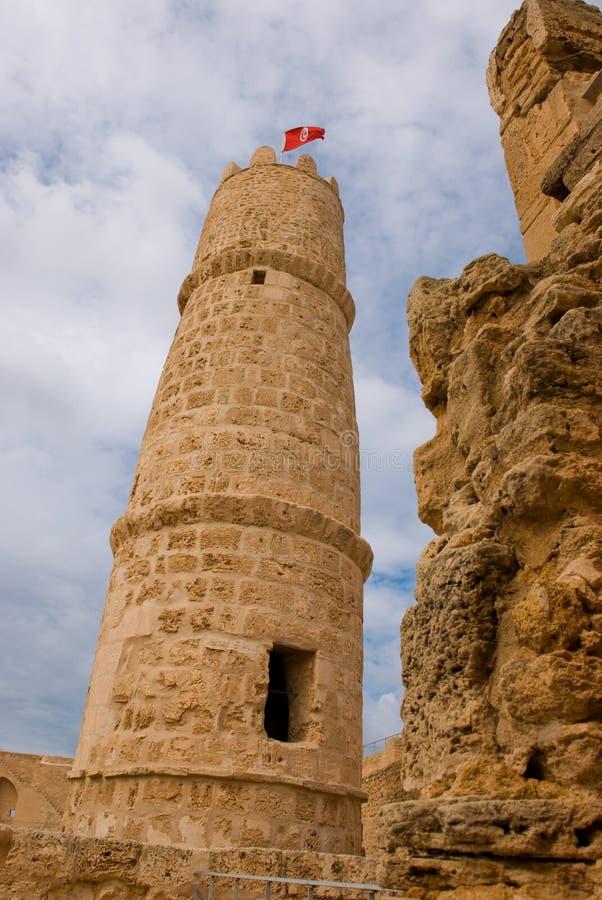 De toren van ribat in monastir, Tunesië stock foto