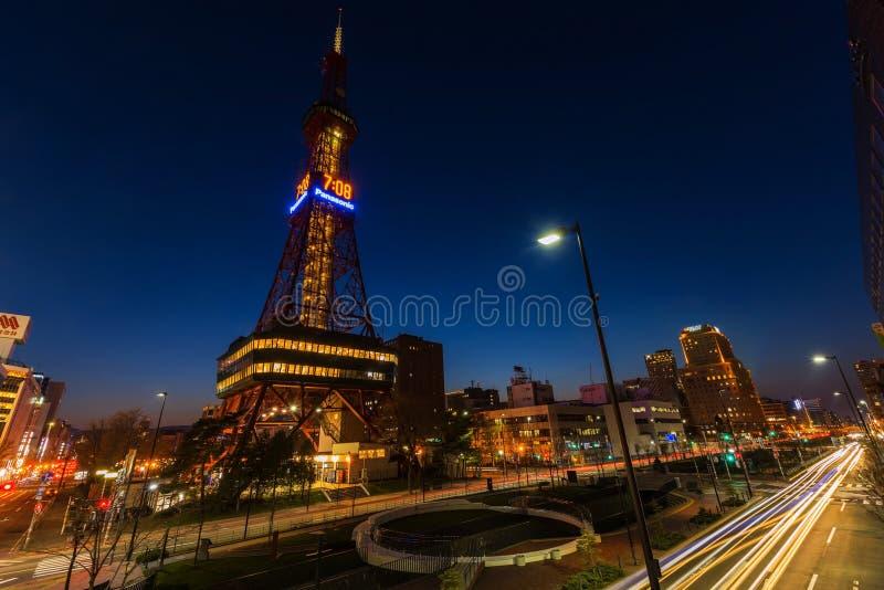 De Toren van Sapporotv bij schemer royalty-vrije stock foto