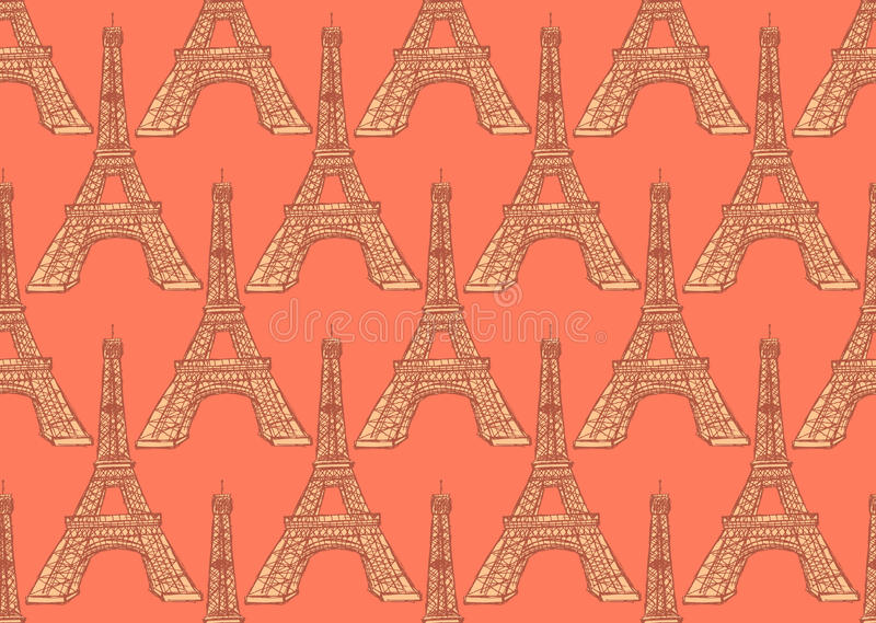 De toren van schetseiffel, vector naadloos patroon vector illustratie