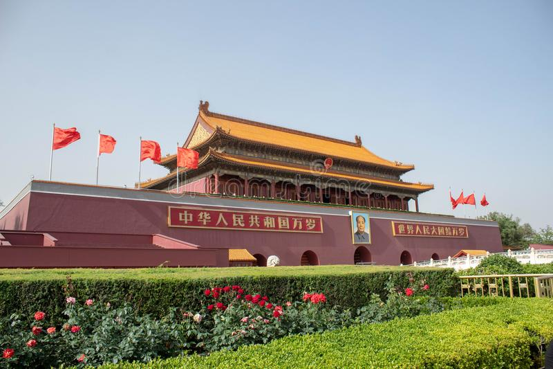 De toren van de Tiananmen` s poort in Tiananmen-Vierkant stock foto