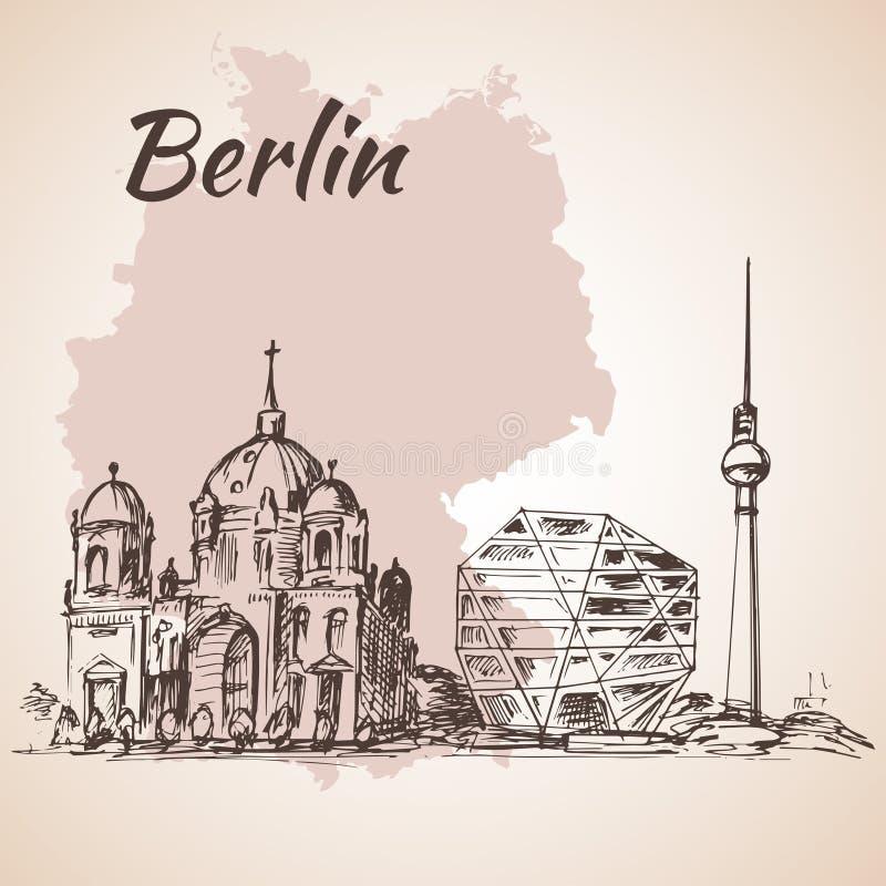 De Toren van TV van Berlin Cathedral en van Berlijn vector illustratie