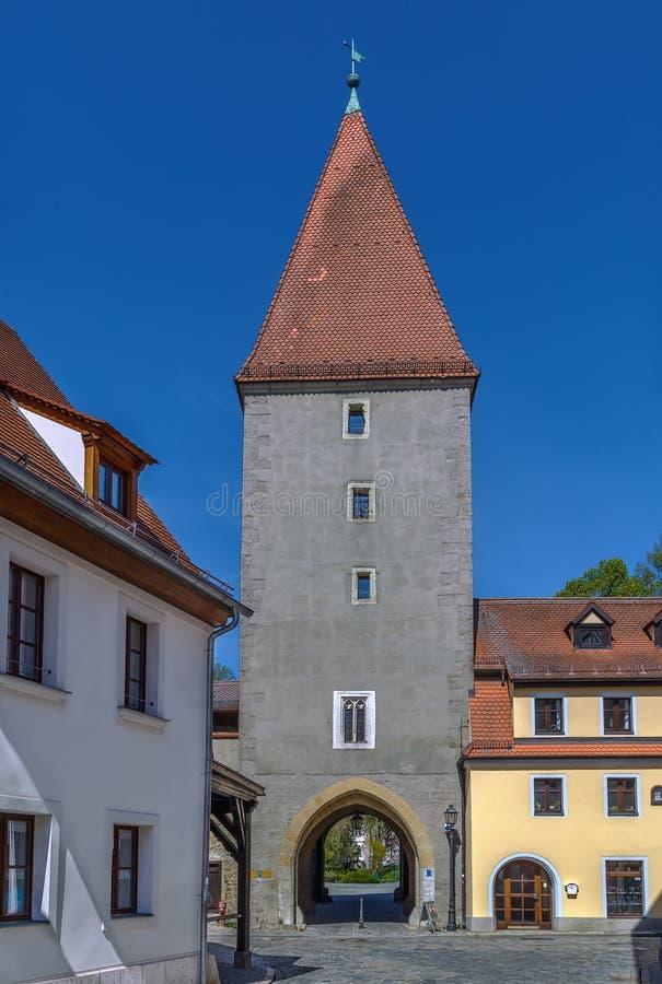 De toren van de Vilstorpoort, Amberg, Duitsland stock afbeelding