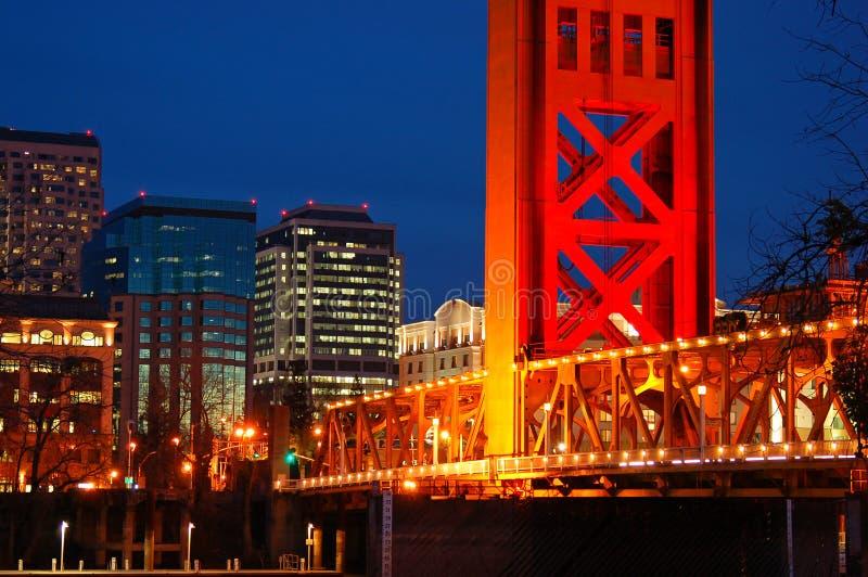De Torenbrug en de horizon van Sacramento royalty-vrije stock afbeelding