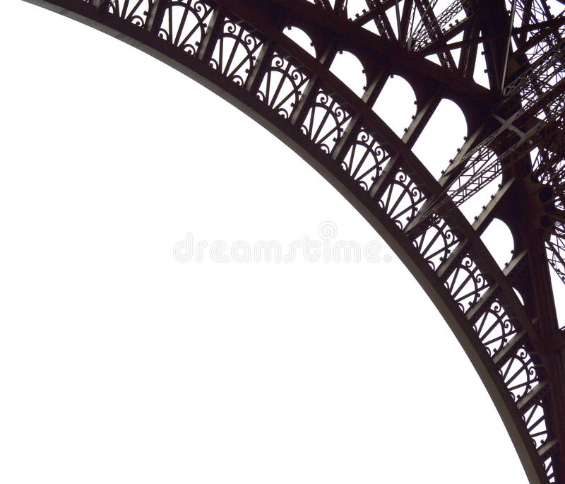 De Torendelen van Eiffel op wit worden geïsoleerd dat stock foto's
