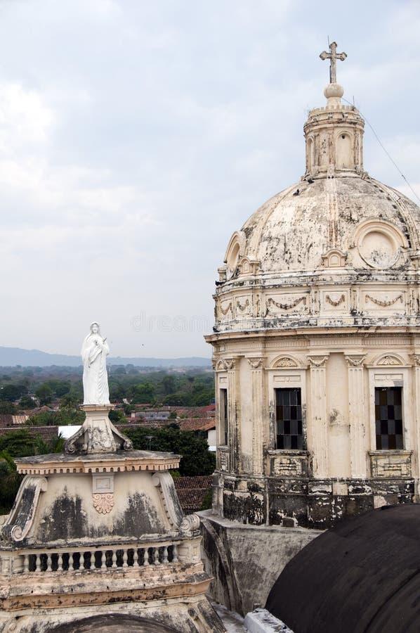 De torens van kerk van La merced Granada Nicaragua stock foto's