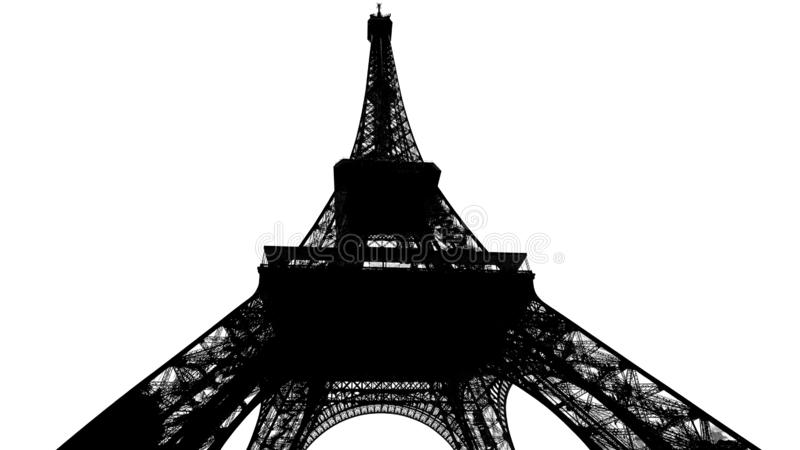 De Torensilhouet van Eiffel op wit wordt geïsoleerd dat royalty-vrije stock afbeeldingen