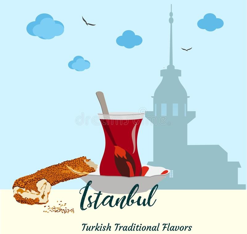 De Torensilhouet van het meisje in Istanboel Traditioneel aroma'songezuurd broodje simit en Turkse thee stock illustratie